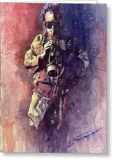 Trumpeters Greeting Cards - Jazz Miles Davis Maditation Greeting Card by Yuriy  Shevchuk