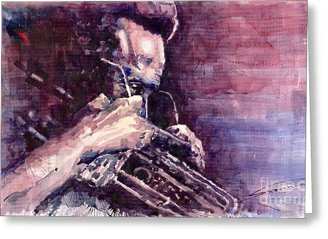 Watercolour Paintings Greeting Cards - Jazz Miles Davis Meditation  Greeting Card by Yuriy  Shevchuk