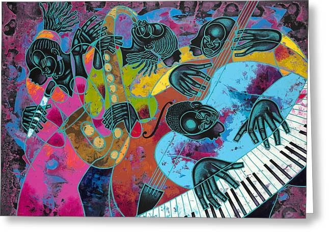 African-american Paintings Greeting Cards - Jazz On Ogontz Ave. Greeting Card by Larry Poncho Brown