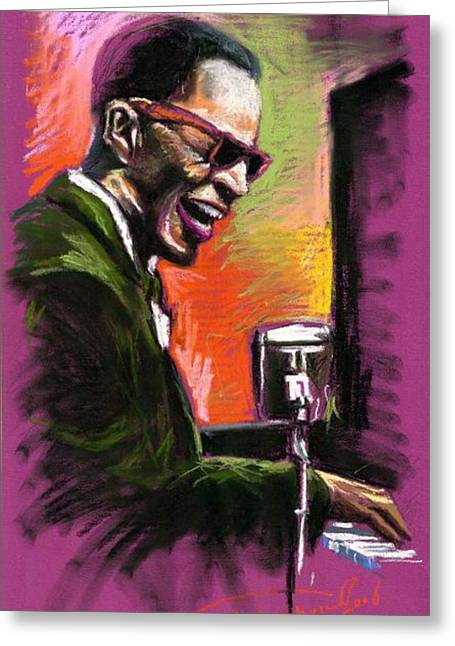 Piano Greeting Cards - Jazz. Ray Charles.2. Greeting Card by Yuriy  Shevchuk