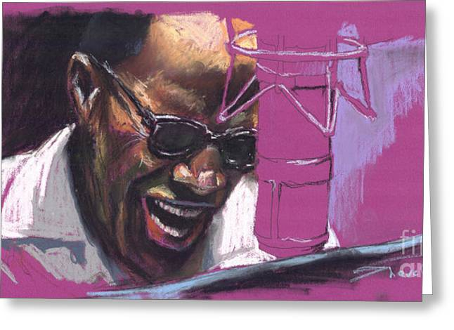 African American Drawings Greeting Cards - Jazz Ray Greeting Card by Yuriy  Shevchuk