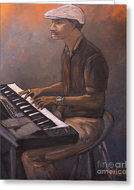 African-american Paintings Greeting Cards - Jazz Greeting Card by Reb Frost