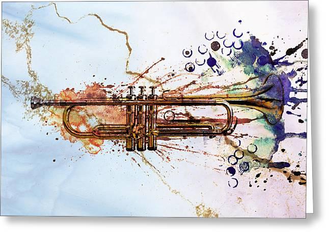 Jazz Trumpet Greeting Cards - Jazz Trumpet Greeting Card by David Ridley