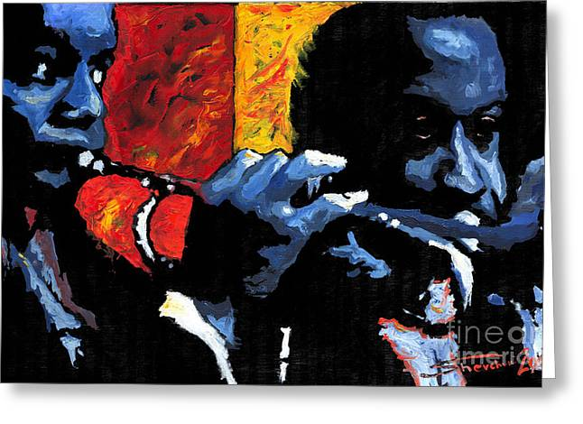 Jazz Trumpeters Greeting Card by Yuriy  Shevchuk