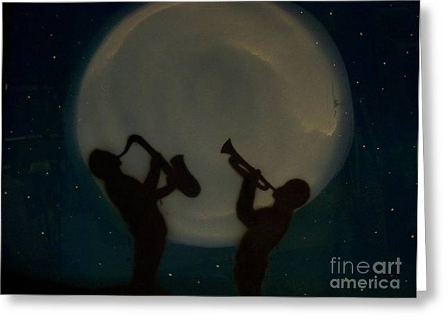 JAZZING AT THE MOON Greeting Card by Damion Powell
