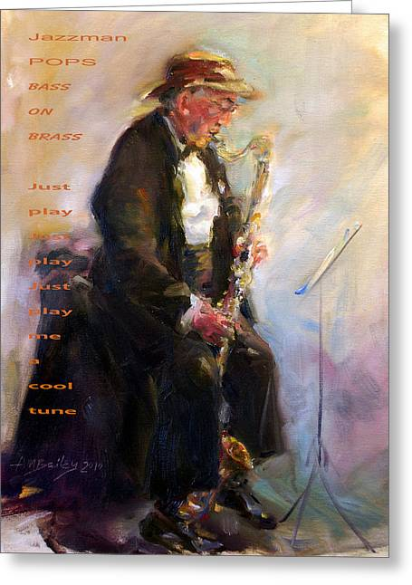 Party Hat Posters Greeting Cards - Jazzman Greeting Card by Ann Bailey