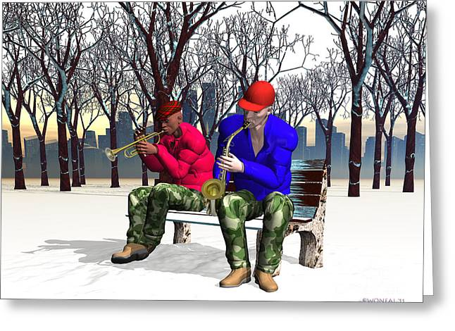 Jazzmas In The Park 1 Greeting Card by Walter Oliver Neal