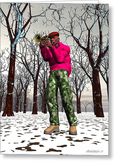 Jazzmas In The Park 2 Greeting Card by Walter Oliver Neal