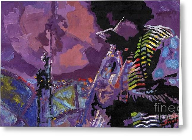 Jazz Trumpet Greeting Cards - Jazz.Miles Davis.4. Greeting Card by Yuriy  Shevchuk