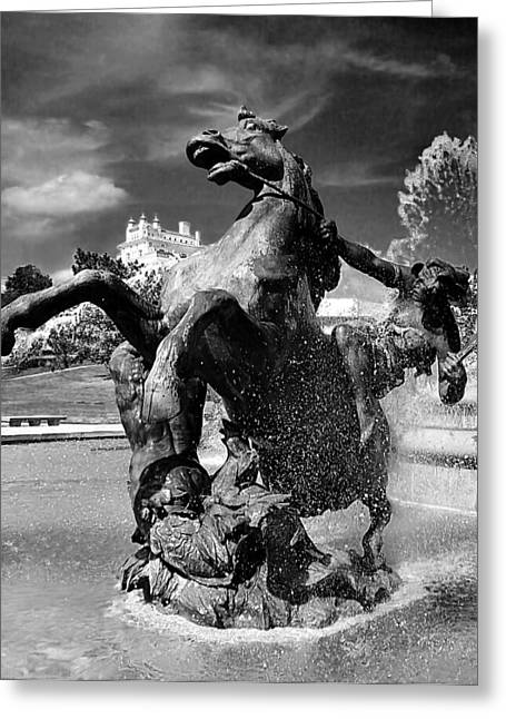 1960 Greeting Cards - JC Nichols Memorial Fountain Greeting Card by Laurie Douglas