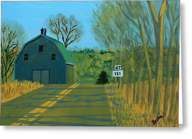 Rural Maine Roads Paintings Greeting Cards - Jct 131 Greeting Card by Laurie Breton