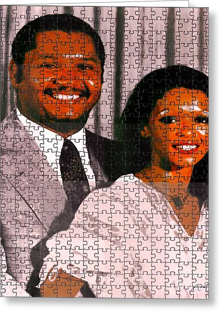 Francois Mixed Media Greeting Cards - Jean Claude et Michelle Bennette Duvalier Greeting Card by Fania Simon
