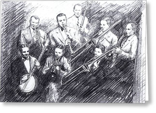 Improvisation Drawings Greeting Cards - Jean Goldkette Orchestra 1926 Greeting Card by Mel Thompson