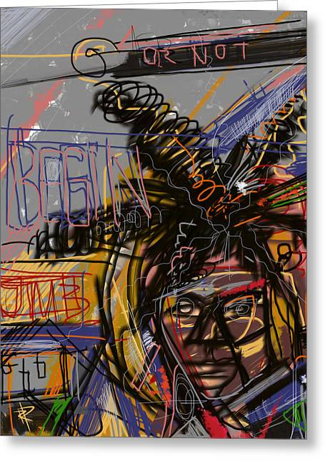 Famous Artist Mixed Media Greeting Cards - Jean Michel Basquiat Greeting Card by Russell Pierce