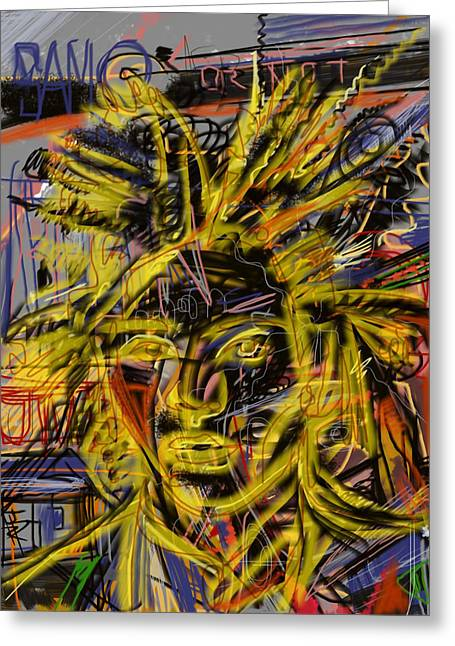 Neo-expressionism Greeting Cards - Jean Michel Greeting Card by Russell Pierce