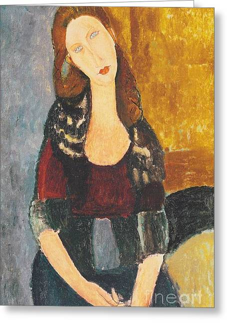 Hebuterne Greeting Cards - Jeanne Hebuterne Greeting Card by Pg Reproductions
