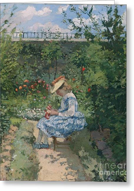 Camille Pissarro Greeting Cards - Jeanne in the Garden Greeting Card by Camille Pissarro