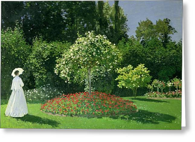 Flower Bed Greeting Cards - Jeanne Marie Lecadre in the Garden Greeting Card by Claude Monet