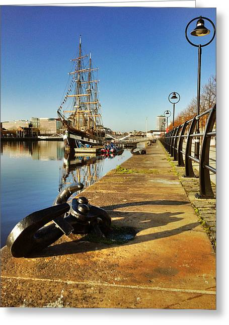 Square Rigger Greeting Cards - Jeannie Johnson on Dublin Quays Greeting Card by Joe Houghton
