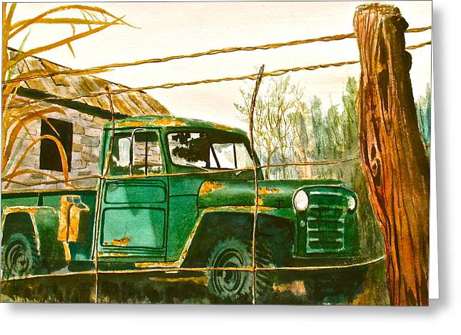 Old Fence Posts Paintings Greeting Cards - Jeep Greeting Card by Frank SantAgata