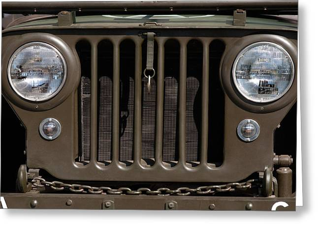 Jeep Greeting Cards - Jeep Grill Greeting Card by Dan Holm