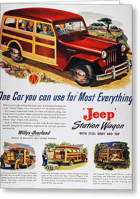 Station Wagon Greeting Cards - Jeep Station Wagon, 1947 Greeting Card by Granger