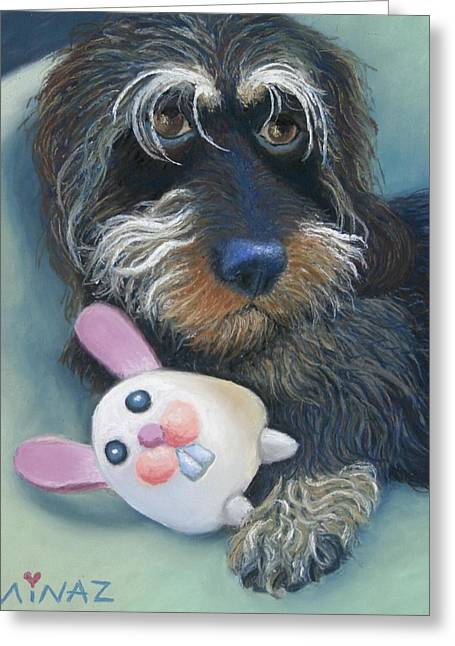 Hound Pastels Greeting Cards - Jeez Donot Touch Ma Squeez Greeting Card by Minaz Jantz