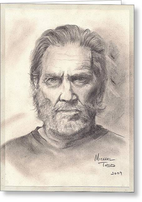 Jeff Drawings Greeting Cards - Jeff Bridges Greeting Card by Mike Todd