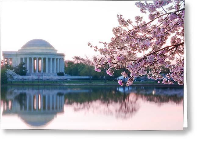 Tidal Basin Greeting Cards - Jefferson at sunrise Greeting Card by Don Lovett