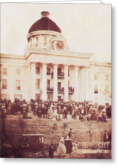 Inauguration Greeting Cards - Jefferson Davis Sworn In As President Greeting Card by Photo Researchers