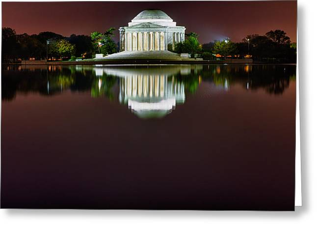 Blackrussianstudio Greeting Cards - Jefferson Memorial Across the Pond at Night 3 Greeting Card by Val Black Russian Tourchin
