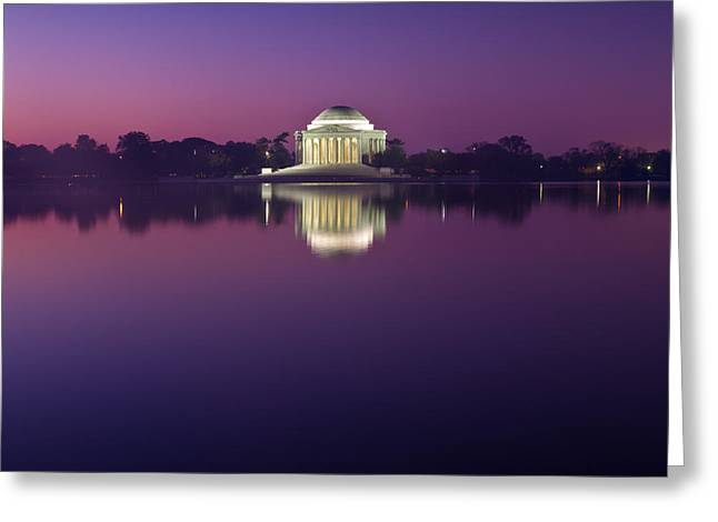 Blackrussianstudio Greeting Cards - Jefferson Memorial and Pond at Blue Light Greeting Card by Val Black Russian Tourchin