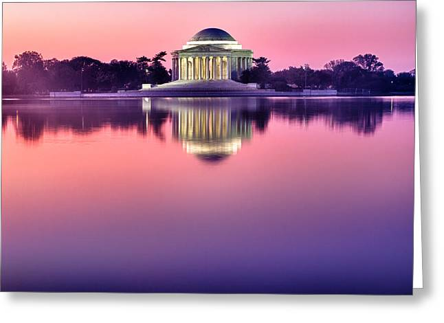 Jefferson Greeting Cards - Jefferson Memorial at Sunrise 1 Greeting Card by Val Black Russian Tourchin