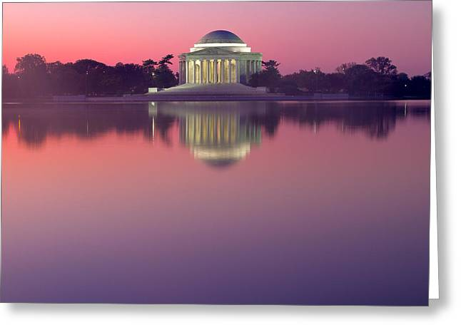 Jefferson Greeting Cards - Jefferson Memorial At Sunrise 2 Greeting Card by Val Black Russian Tourchin