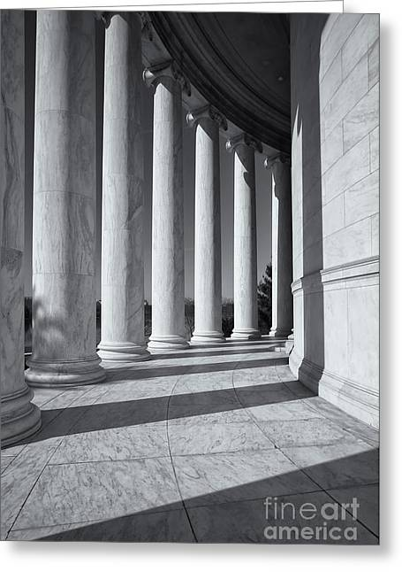 D.w Greeting Cards - Jefferson Memorial Columns and Shadows Greeting Card by Clarence Holmes