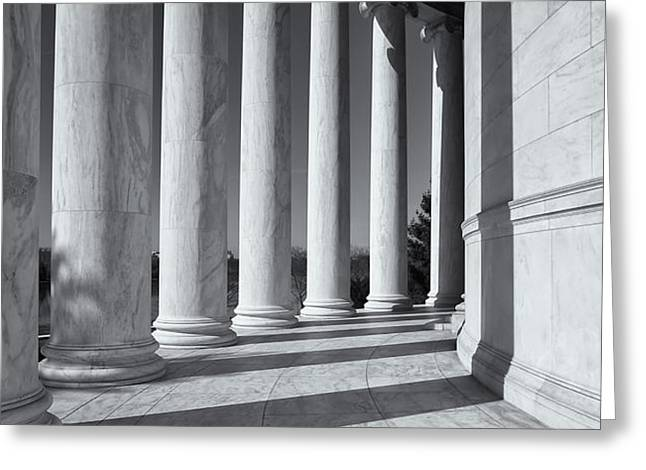 Jefferson Memorial Columns and Shadows Greeting Card by Clarence Holmes