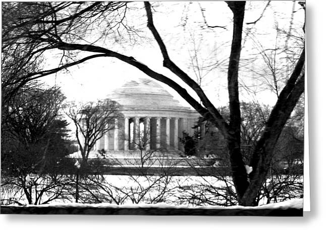 Black And White Photos Pyrography Greeting Cards - Jefferson Memorial Greeting Card by Fareeha Khawaja