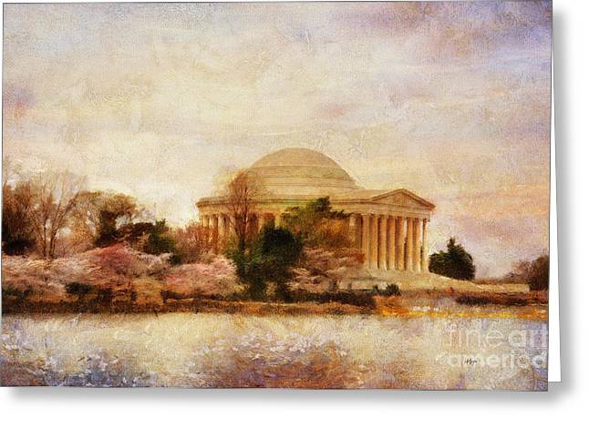 Jefferson Greeting Cards - Jefferson Memorial Just Past Dawn Greeting Card by Lois Bryan