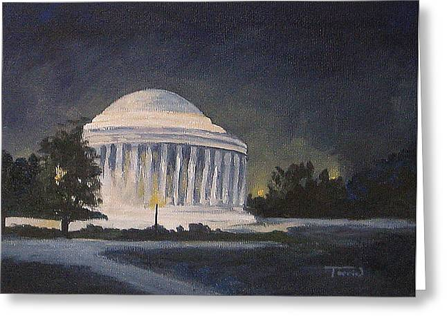 Jefferson Paintings Greeting Cards - Jefferson Memorial  Greeting Card by Torrie Smiley