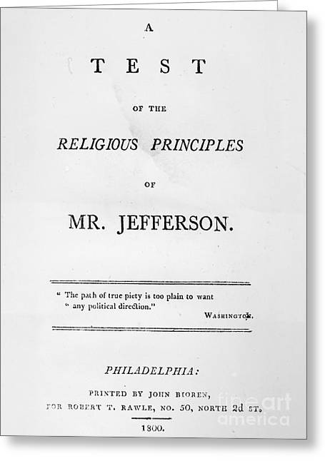 Book Title Greeting Cards - Jefferson: Pamphlet, 1800 Greeting Card by Granger