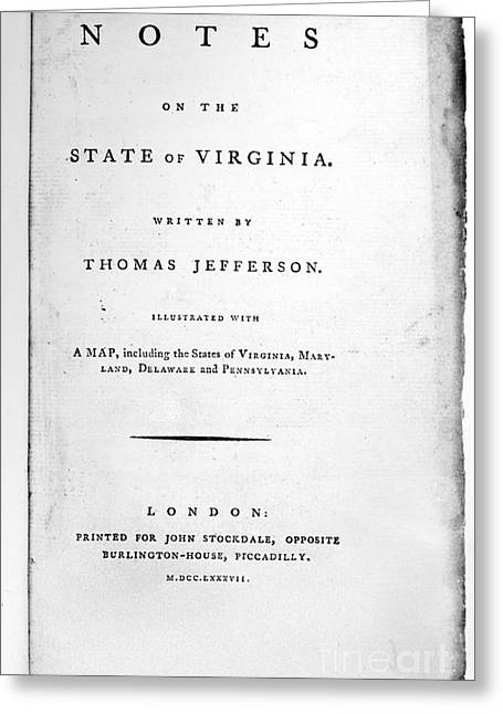 Jefferson: Title Page, 1787 Greeting Card by Granger