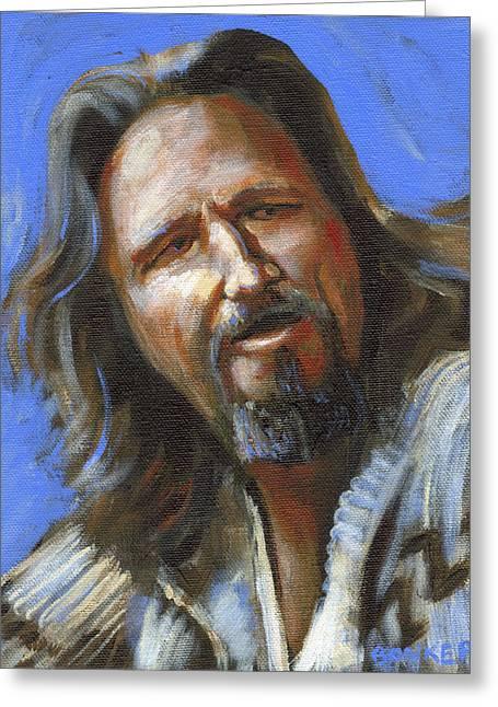 Big Lebowski Paintings Greeting Cards - Jeffrey Lebowski - The Dude Greeting Card by Buffalo Bonker