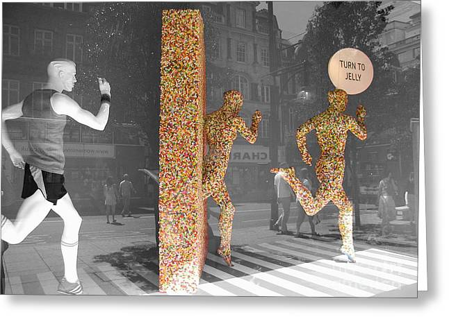 Jogging Greeting Cards - Jelly Beings Greeting Card by Stav Stavit Zagron