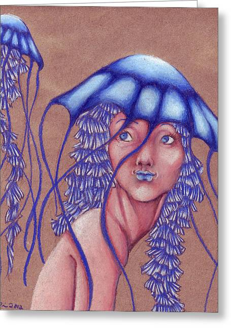 Jelly Fish Drawings Greeting Cards - Jelly Hat Greeting Card by Trissa Tilson