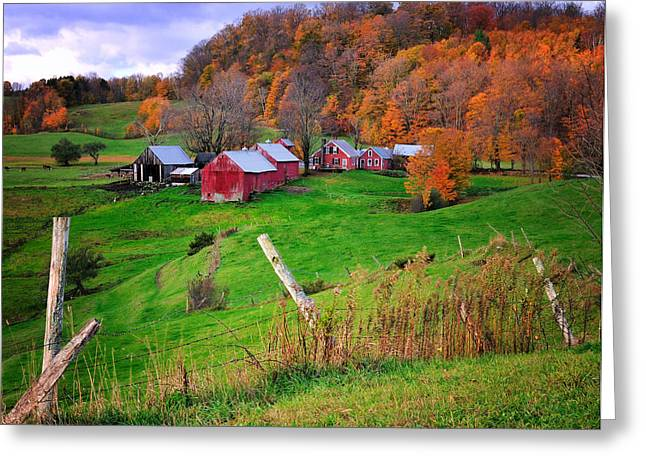 Primitive Decor Greeting Cards - Jenne Farm-Autumn scenic from Reading Vermont  Greeting Card by Thomas Schoeller