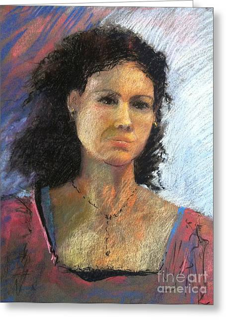 Curly Hair Pastels Greeting Cards - Jenny in Pink Greeting Card by Pamela Pretty