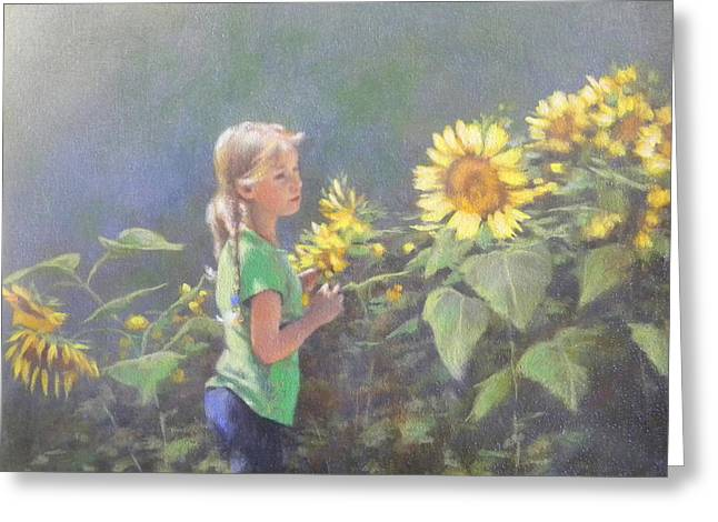 Sunflower Patch Greeting Cards - Jenny Greeting Card by J M Brodrick