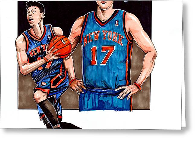 Jeremy Lin Greeting Card by Dave Olsen