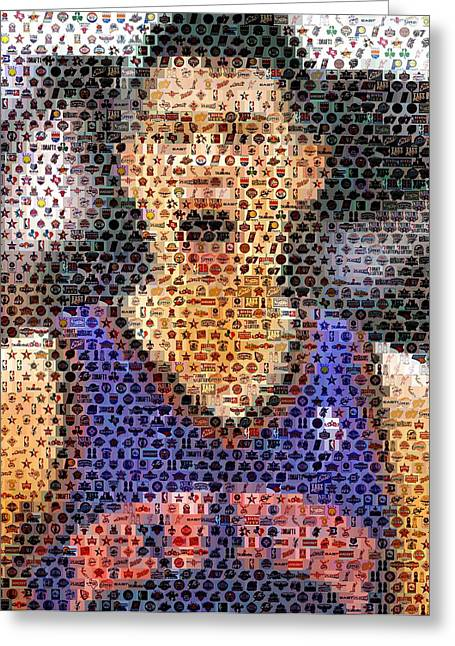 Knicks Greeting Cards - Jeremy Lin Mosaic Greeting Card by Paul Van Scott