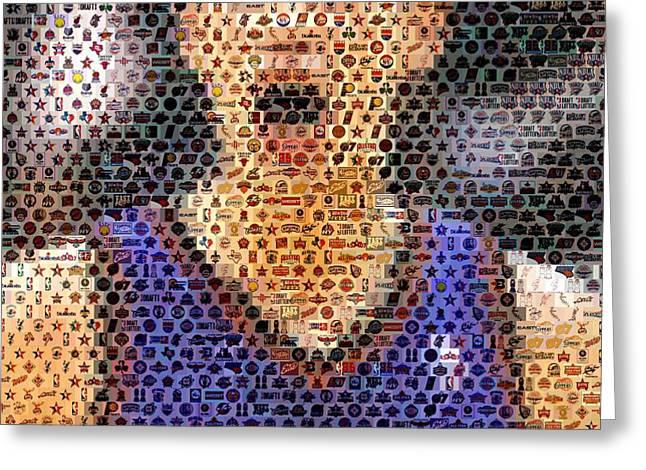 Jeremy Lin Mosaic Greeting Card by Paul Van Scott